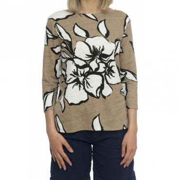 T-shirt donna - J069 fts111 t-shirt manica 3-4 fantasia fiori 678 - Stampa beige
