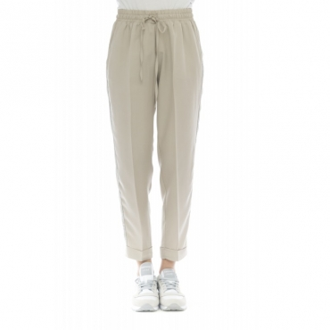 Pantalone donna - Petri pantalone jogging banda GESSO
