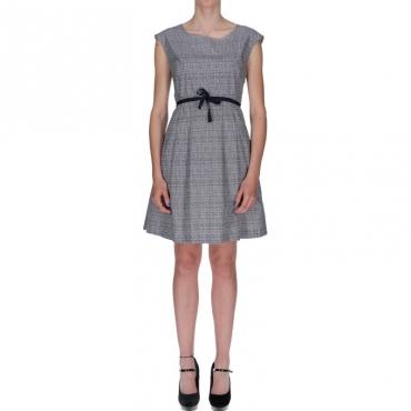 Ws printed popeline dress BIANCO