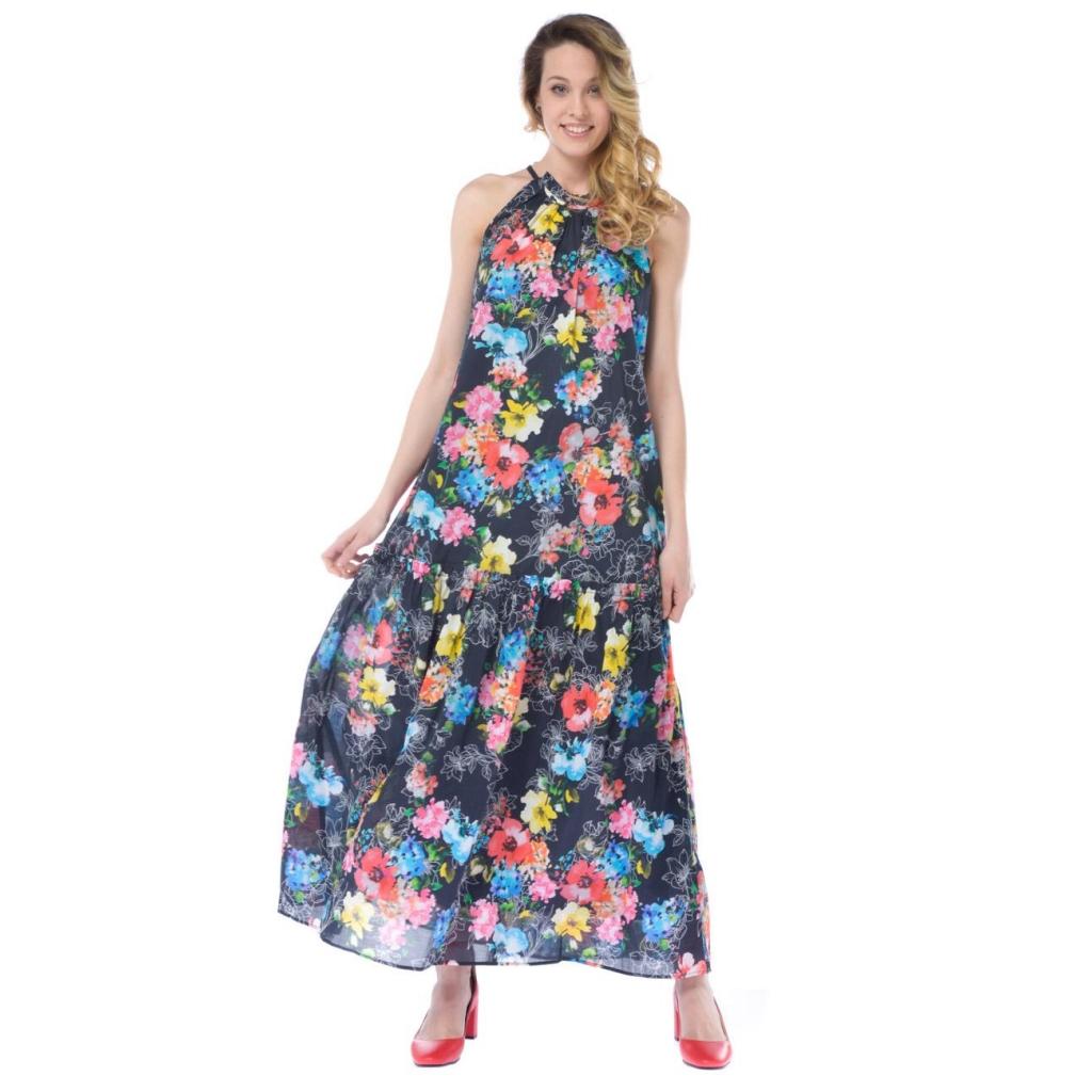 c5e5a5541e0b15 My Twin-Set women's long dress with flowers and black flounce NR-ROSA