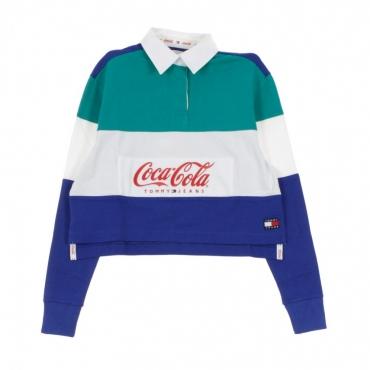 37517686fec FELPA COLLEGE TOMMY X COCA COLA CROP RUGBY TEAL BLUE/SODALITE BLUE