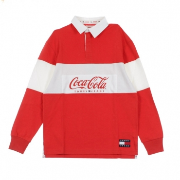 FELPA COLLEGE TOMMY X COCA COLA RUGBY RED/BRIGHT WHITE