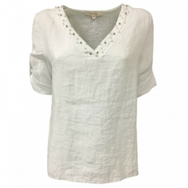 LA FEE MARABOUTEE blusa donna bianca art FB7133 100 lino MADE IN ITALY Bianco
