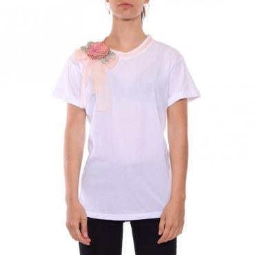 T-shirt cotone con spilla BIANCO