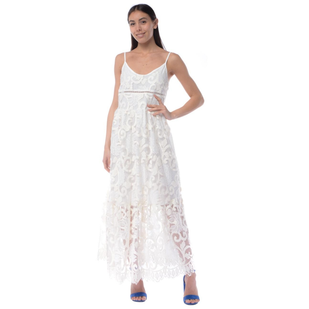 meet 4a497 4156e Kaos - Abito donna Kaos in pizzo con spalline bianco PANNA - Vestit...