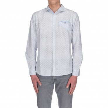 CAMICIA LS SMART CASUAL white scribble check