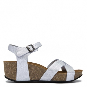 Sandalo argentato con zeppa in sughero SPAKSILVER