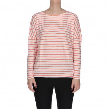 T-SHIRT FASHION LS red stripe