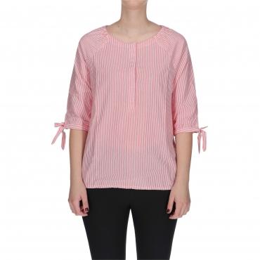 TOP PRINTED TIE SLEEVE pink stripe