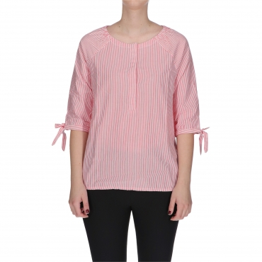 TOP PRINTED TIE SLEEVE pink stripe