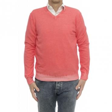 Maglia uomo - 2101/51f maglia scollo v lavata freddo Hibiscus