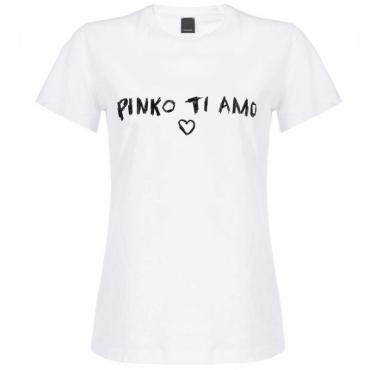 T-shirt bianca Pinko Ti Amo Z04WHITE