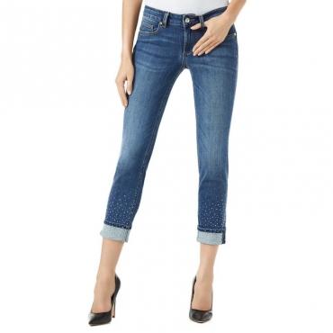 Jeans skinny Monroe con strass sul fondo 77539DENBLUE