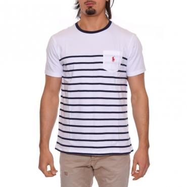 T-shirt riga con taschino BIANCO