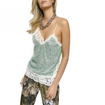 Top in lingerie con micro paillettes T29GREEN