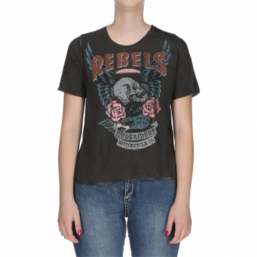 T-SHIRT REBELS RUDE RIDERS ROAD BLACK