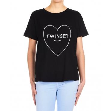 T-shirt con ricamo logo Black