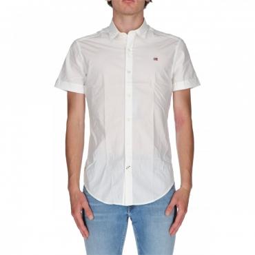 Camicia Napapijri Uomo Slim Fit Manica Corta M01 WHITE