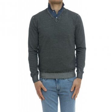 Maglia uomo - 2101/51f maglia scollo v lavata freddo PIETRA