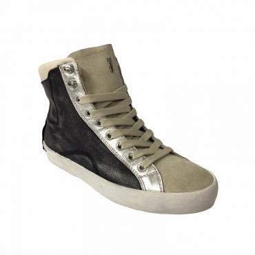 CRIME LONDON scarpa donna tela nero/argento camoscio ghiaccio mod  25023S17B