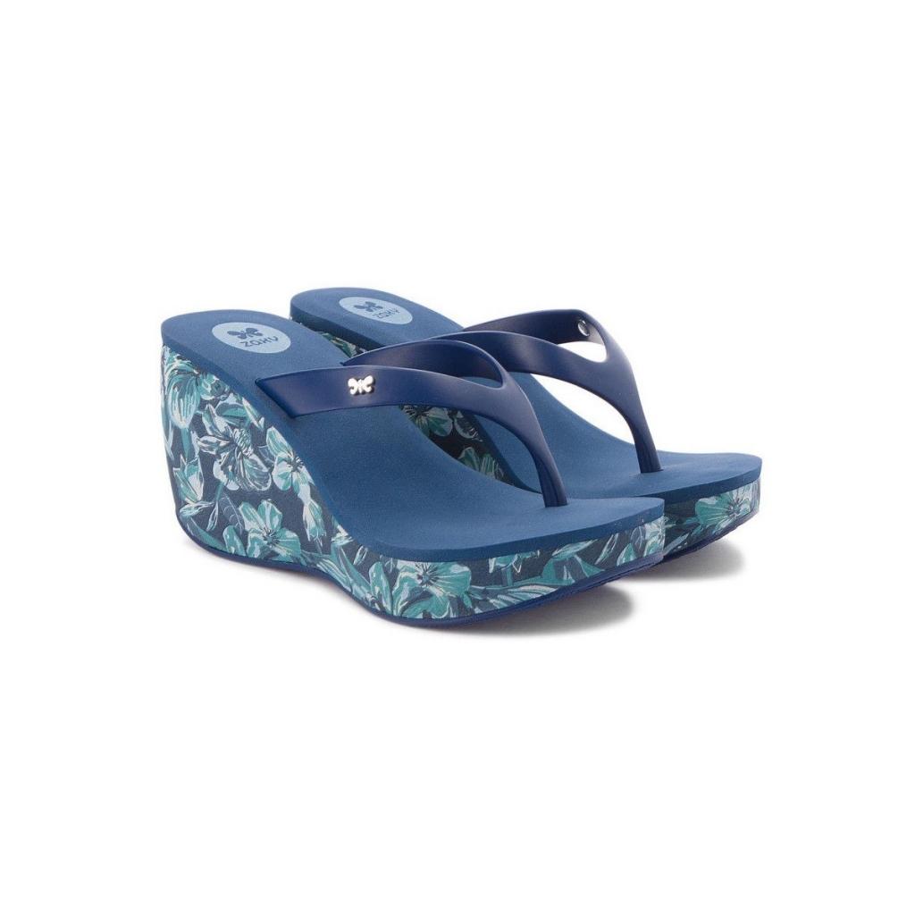 ZAXY women's slipper wedge 8 cm Lipstick VI Fem 82296 MADE IN BRAZIL Blue