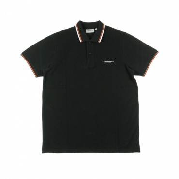POLO MANICA CORTA SCRIPT EMBROIDERY POLO BLACK/WHITE/PEPPER