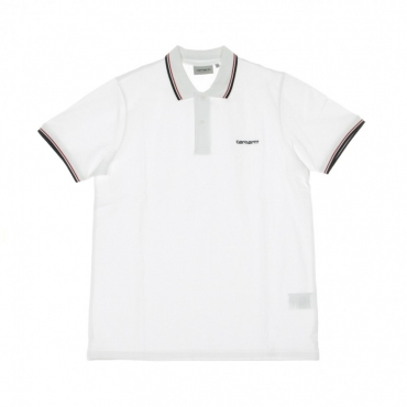 POLO MANICA CORTA SCRIPT EMBROIDERY POLO WHITE/DARK NAVY/CARDINAL