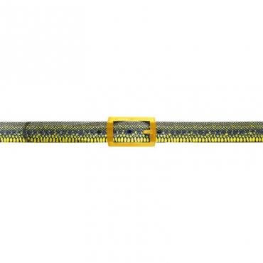 Cintura trama pitone blu e gialla DBLUE/GIALLO
