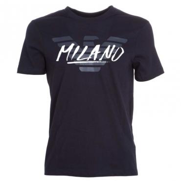 T-shirt con stampa logo e citt BLU NAVY