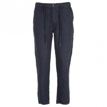 Pantaloni in lino in tinta unita NAVY