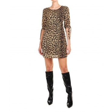 Abito con stampa animalier Brown