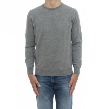 Maglia uomo - 800/01/09 maglia giro 100 merinos toppa in maglia 33 - grigio