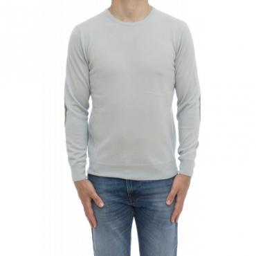 Maglia uomo - 800/01/09 maglia giro 100 merinos toppa in maglia 422 - Grigio