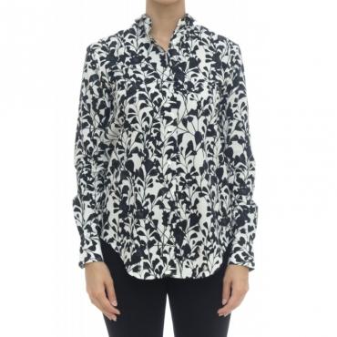 Camicia donna - 1107 55531 fiore bianco nero 001