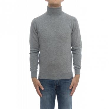 Maglia uomo - 8008/05 collo alto con toppa lacantara 130 - Grigio