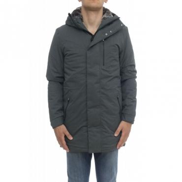 Piumino - D4344m town9 cappottino twill pelo effetto lana 670 - Charcoal Grey
