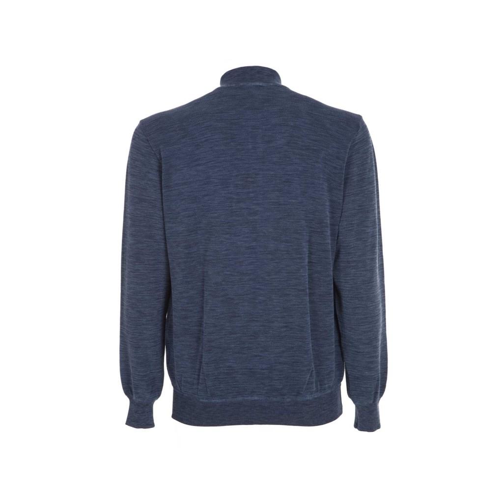 Maglione blu navy in cotone con minitrama 802