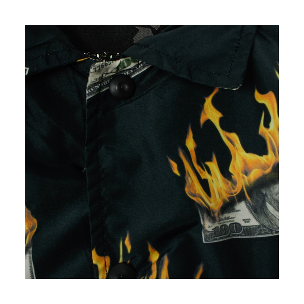 GIACCA COACH JACKET ALLOVER JACKET FLAME NYLON BLACK