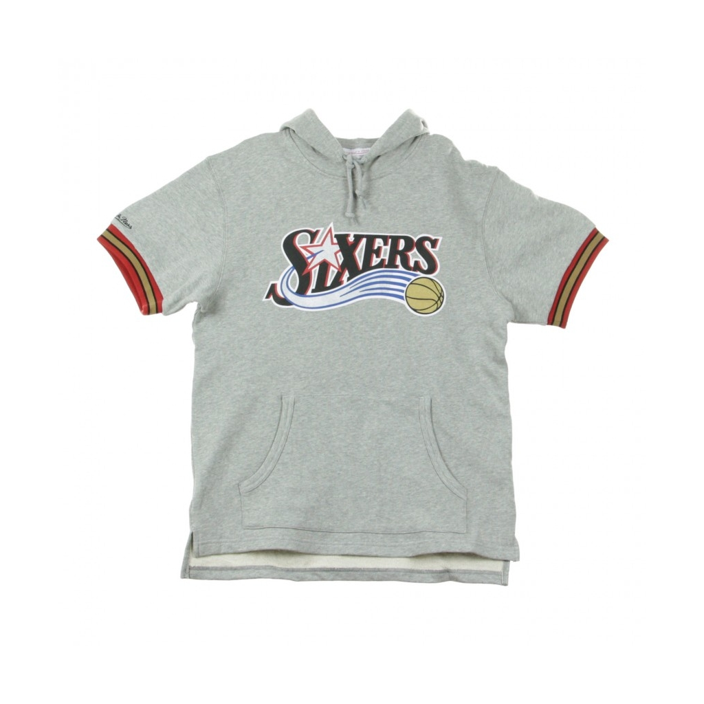 FELPA LEGGERA CAPPUCCIO MANICA CORTA NBA FRENCH TERRY HOODY PHI76E HEATHER GREY/ORIGINAL TEAM COLORS