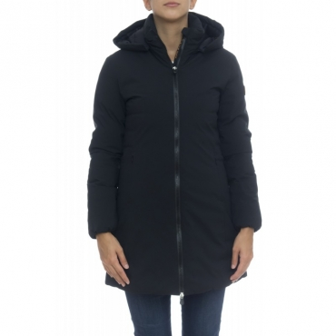 Piumino - D4006w matt9 cappottino liscio capp staccabile 001 - Nera