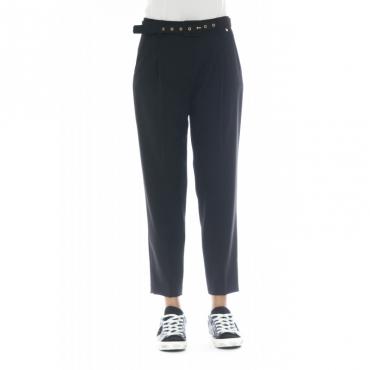 Pantalone donna - Boa pantalone cintura vita alta 0016 - Nero