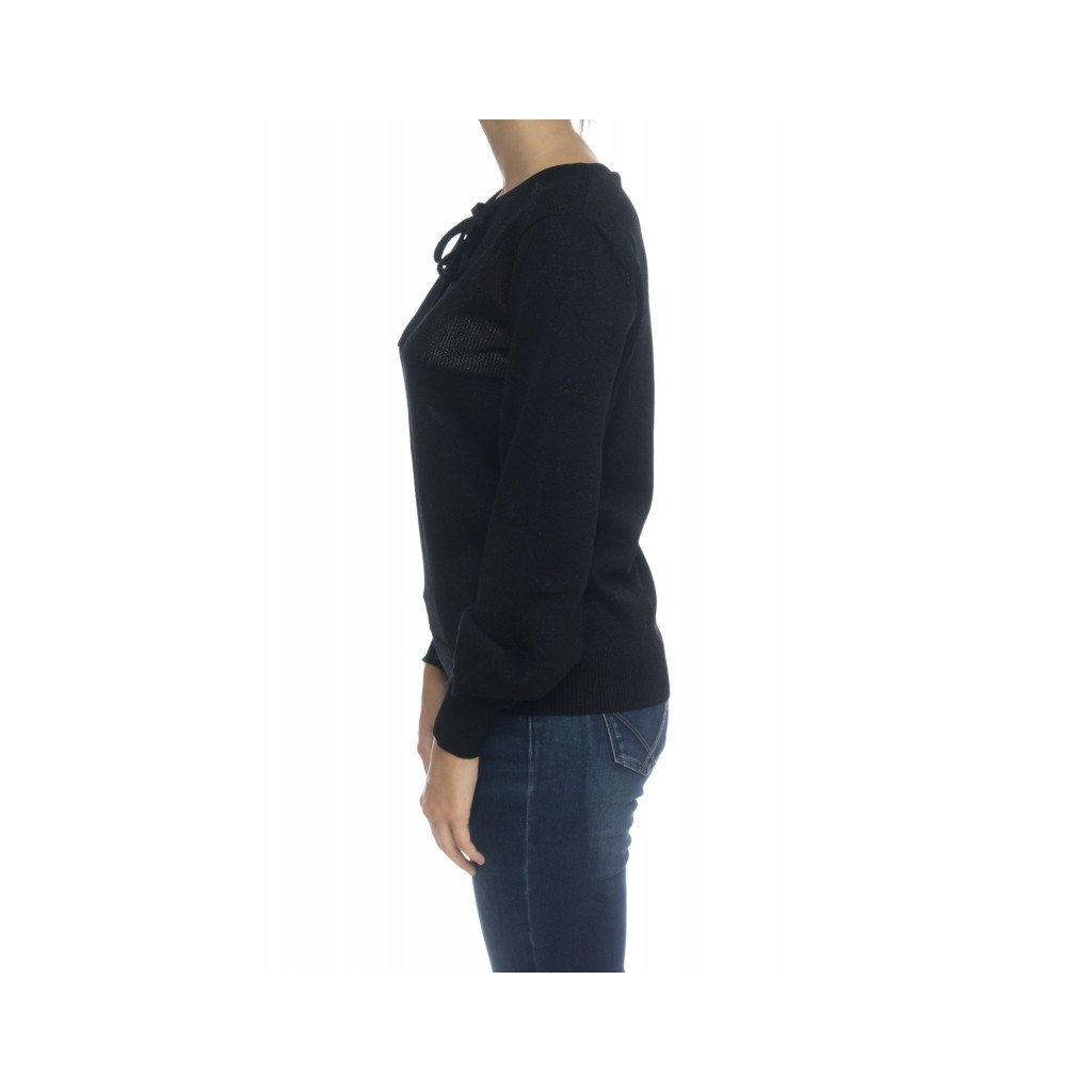T-shirt donna - Madelin t-shirt lurex 0016 - Nero