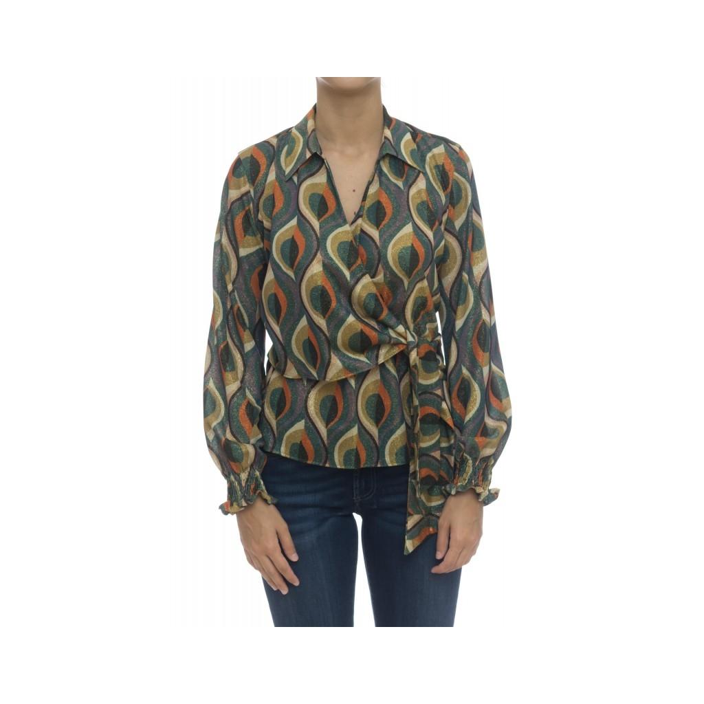 Camicia donna - Pmd z5u camicia incrociata stampa lurex FU1