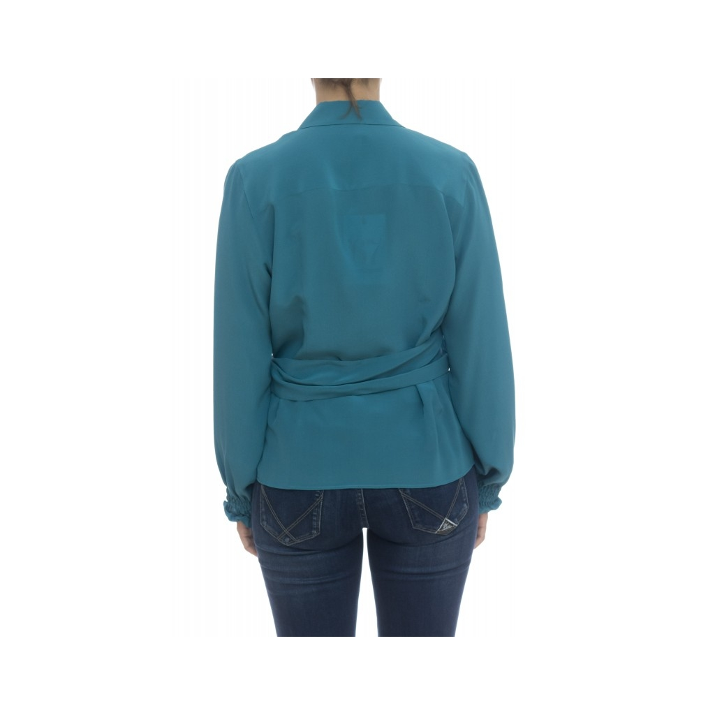 Camicia donna - Pmd zz3 camicia incrociata seta UD1 - Petrolio