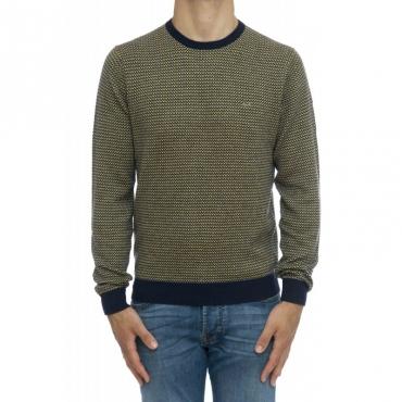 Maglia uomo - K29132 maglia jaquard 0706 - Navy Giallo