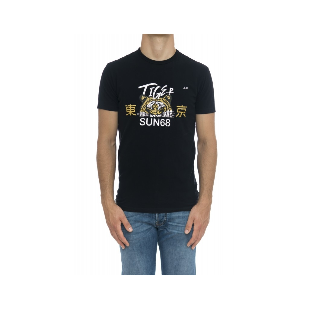 T-shirt uomo - T29120 t-shirt stampa 1103 - Nero