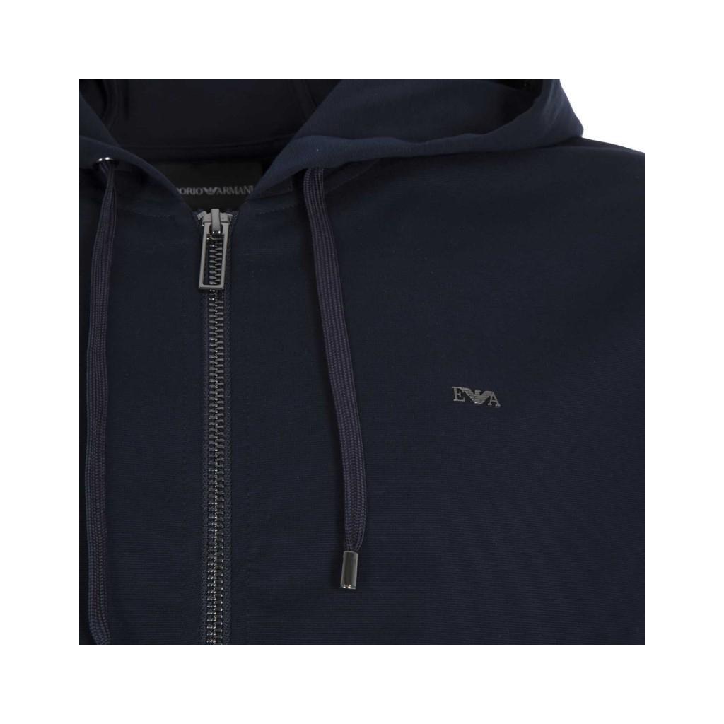 Felpa blu navy con zip e logo