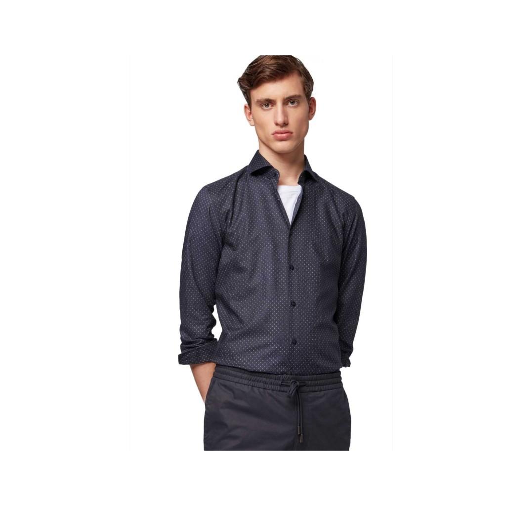 Camicia slim fit con micro pois bianchi e azzurri 402DARKBLUE