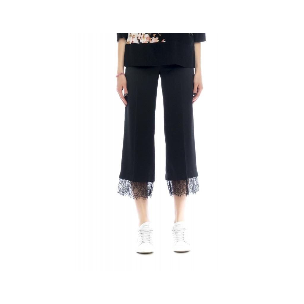 Pantalone donna - 2730 pantalone fluido piu pizzo 06 - Nero