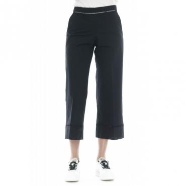 Pantalone donna - 2244 pantalone cotone strech ricamo a giorno 6 - Nero